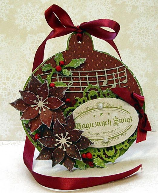 Dorota's Music & Poinsettia Christmas Tag