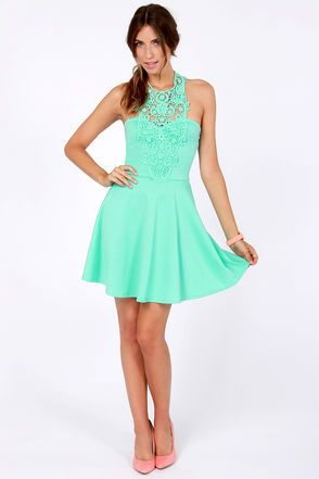 Pretty Seafoam Dress - Lace Dress - Halter Dress - $43.00