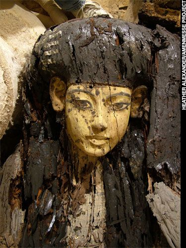 Coffin F is one of three from KV63, an embalmer's cache  from around the time of Tutankhamun, that shows faces  with eyes shaped similarly to Nefertiti's.