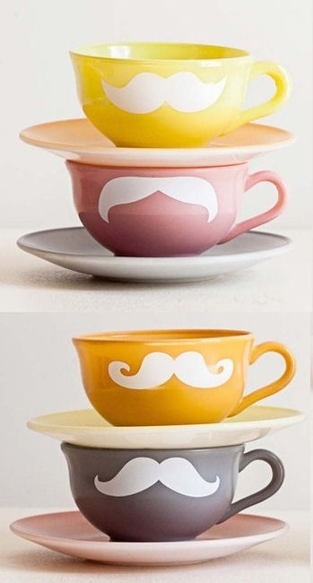 Mustache Tea Set (I like this b/c it's whimsical. Good for a day when you want to make someone or even yourself SMILE)