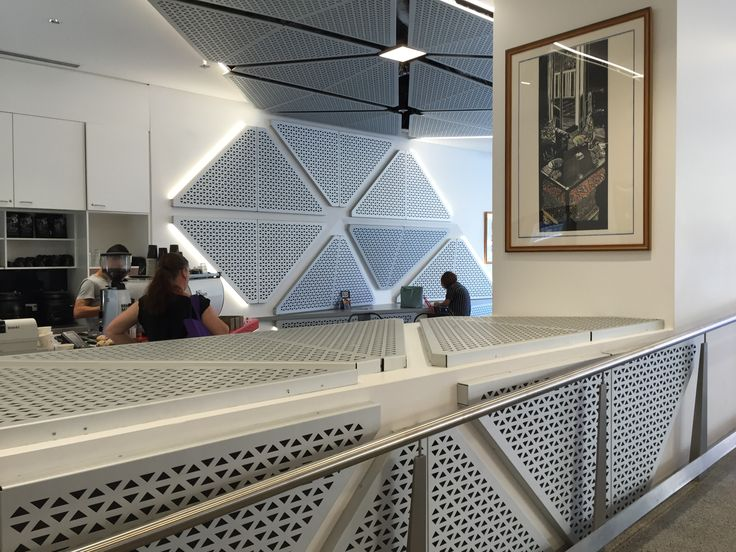 Aztec perforated panels, adding texture and acoustics at Ultimo Tafe, NSW.#ceilingpanels #interiors #acousticpanels