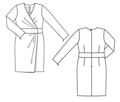 Платье с запахом - выкройка № 134 A из журнала 12/2011 Burda – выкройки платьев на Burdastyle.ru