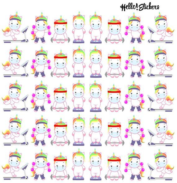 Kawaii Rainbow Unicorn Exercise Stickers, Work Out Stickers, Unicorn Stickers, Rainbow Stickers, Step Tracker Stickers, Weight Stickers