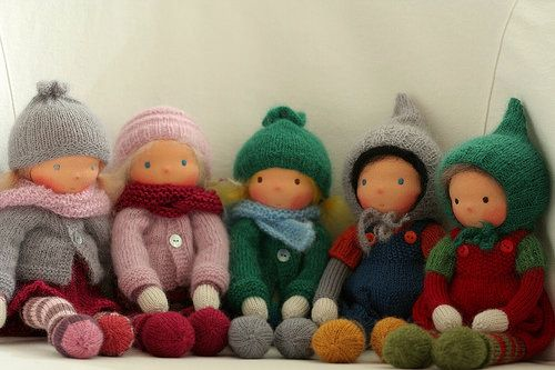 Knitted Waldorf doll by Peperuda dolls