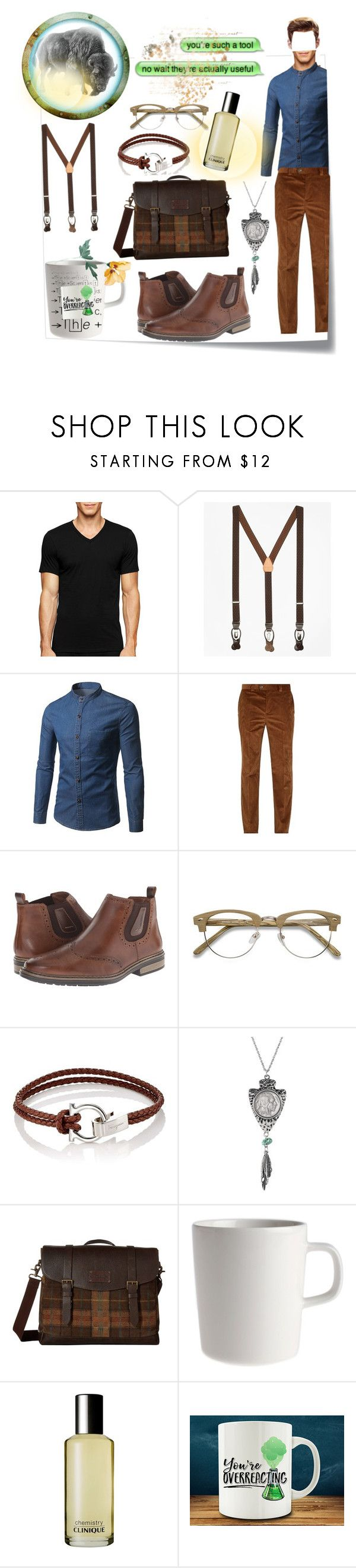 """""""chemistry Chem"""" by camilledifraccelinew ❤ liked on Polyvore featuring Post-It, Calvin Klein, Brooks Brothers, Brunello Cucinelli, Rieker, EyeBuyDirect.com, Salvatore Ferragamo, American Coin Treasures, Johnston & Murphy and Clinique"""