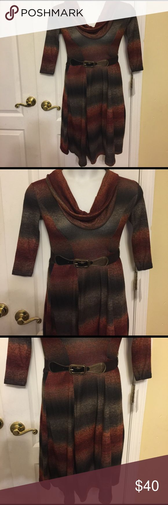 Robbie Bee short sleeve sweater dress petite pxs Sleeve length: short sleeve, neckline: cowl neck, dress length: mid length, fabric content: 95% polyester, 5% spandex. Color rust brown Multicolor Robbie Bee Dresses Midi