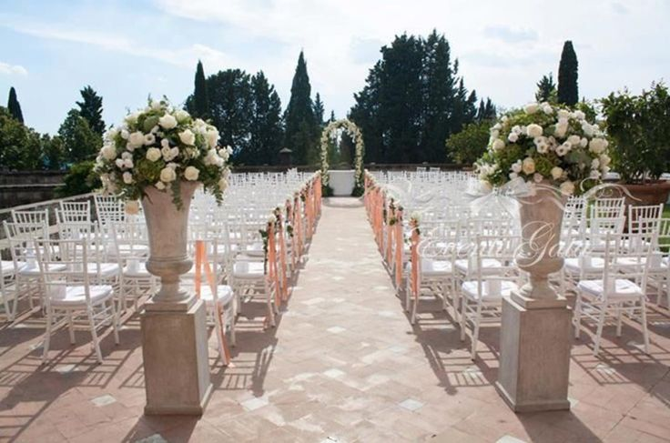 Romantic Ceremony in a castle  White and pink flowers