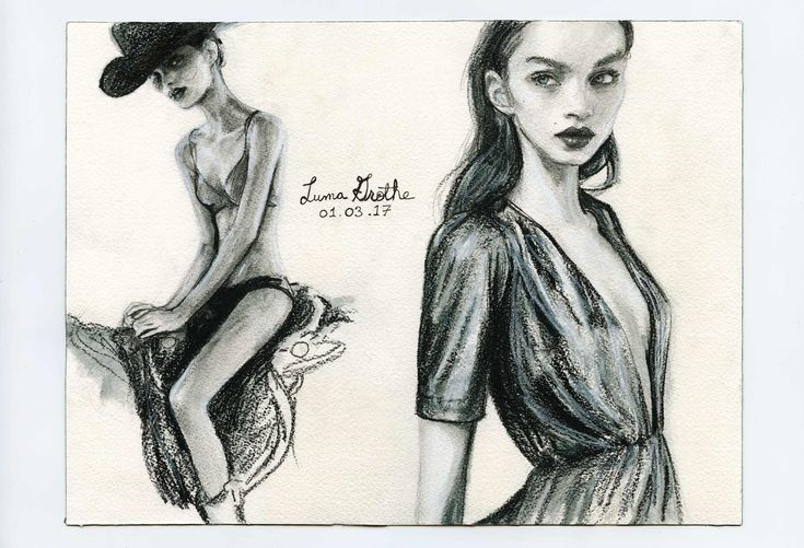 Artist Danny Roberts Daily Gesture Sketches 01-03-17 of Brazilian Model Luma Grothe Igor + Andre