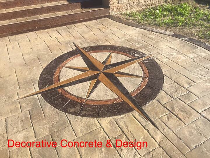 Stamped Concrete Medallions : Best images about concrete stamps patios outdoor