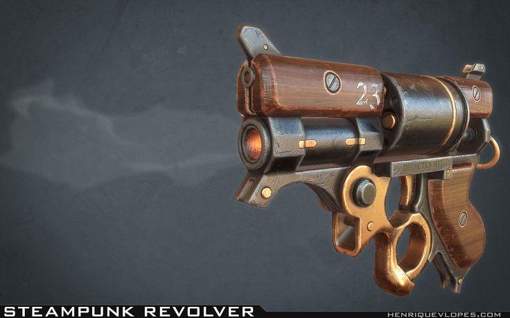 ArtStation - Steampunk Revolver, Henrique Lopes