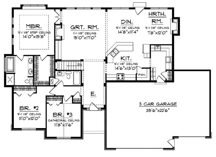 Open Floor Small Home Plans | Ranch With Open Floor Plan (HWBDO14044) |  Prairie