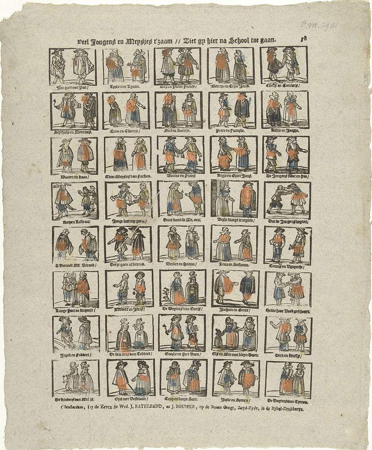 Veel jongens en meysjes t'zaam // Ziet gy hier na school toe gaan, De erven de weduwe J. Ratelband en J. Bouwer, anoniem, ca. 1782 - ca. 1793