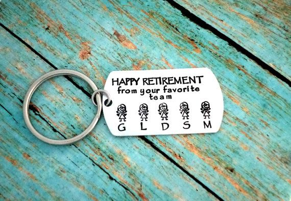 This listing includes a brushed aluminum dog tag that is hand stamped with your own work family members all on a keychain you can carry with you everywhere. The dog tag is 1 inch wide by 1 3/4 inches height and light weight.     What I need from you at checkout:  1) Who you want the tag to read from (ex. 'Happy Retirement' in this pictured example)  2) The stick figures you need: Men, Women  3) Initials you want stamped underneath the men and women (like pictured) It will be left blank if they are not included.    If you want it as a necklace instead, just leave a note at checkout.    Several ways to CUSTOMIZE your keychain: (click on links and add to cart)    Add an initial charm- https://www.etsy.com/listing/180681081  Add a birthstone- https://www.etsy.com/listing/173830712    Other Charm Options:  Family Member Charms---> https://www.etsy.com/listing/181495868   Animal Charms---> https://www.etsy.com/listing/181497280  Sports Charms---> https://www.etsy.com/listing/181509361  Love & Nature---> https://www.etsy.com/listing/181499098    Silver Polishing Cloth (to make yours shine for life)- https://www.etsy.com/listing/181474764    **These are custom made, so if there are any changes you would like: feel free to do so! During checkout, you have an option to add a note on your order for any specifications or adjustments.     Please send me a message if you have any questions or requests.    All orders come in a beautiful organza bag, ready for gift giving!    Want to see more? Here is my shop front---> www.etsy.com/shop/handmadelovestories    ❤ Note: Each piece is hand stamped by striking a hammer, each letter at a time. The spacing  and the depth of the letters vary - This creates the beauty and uniqueness of every single piece - No two are the same! If you have any concerns or are just new to hand stamped jewelry, let me know! I'll send you pictures of the item before shipping it you to make sure you love it! ❤  ------------------------------------------------------------------------------------------------------------------------           (New to Etsy? You will need to sign up for an Etsy account to checkout just like most online stores. After you add the item you want to your cart, it will show that you will pay through PayPal- You do not need to have a paypal account, nor pay that way. You will have the option to pay with any major credit / debit card) Happy Shopping!!!    **Need it gift wrapped?? Click on the link and add to cart:      https://www.etsy.com/listing/172134813/gift-wrap-option?ref=listing-shop-header-1    ***Need it in a hurry?? Click on the link and add to cart:  https://www.etsy.com/listing/172135993/rush-my-order | Shop this product here: spree.to/bvp9 | Shop all of our products at http://spreesy.com/SabbysPlace32    | Pinterest selling powered by Spreesy.com