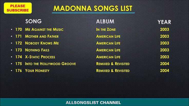 MADONNA SONGS LIST (2000, 2009) | Madonna Album List | List of all Madonna Songs