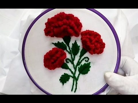 Hand Embroidery - Tulip Flower with kashmiri/Romanian Stitch - YouTube