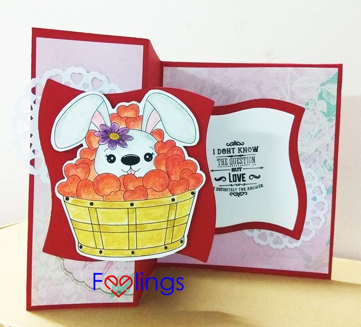 Z fold card, bunny card, Valentine's card