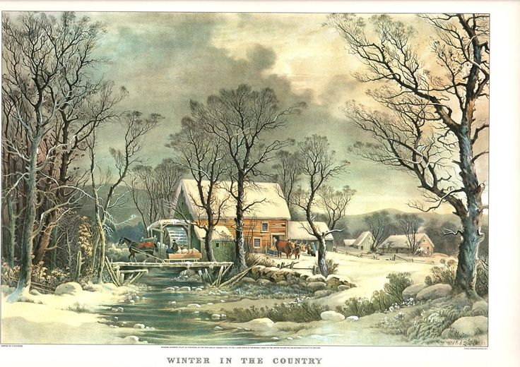 A Large Currier and Ives print Winter in the Country (Old Grist Mill) The Print is approx. 18 3/4 inches wide and 14 inches tall. by Blossomprintsandmore on Etsy