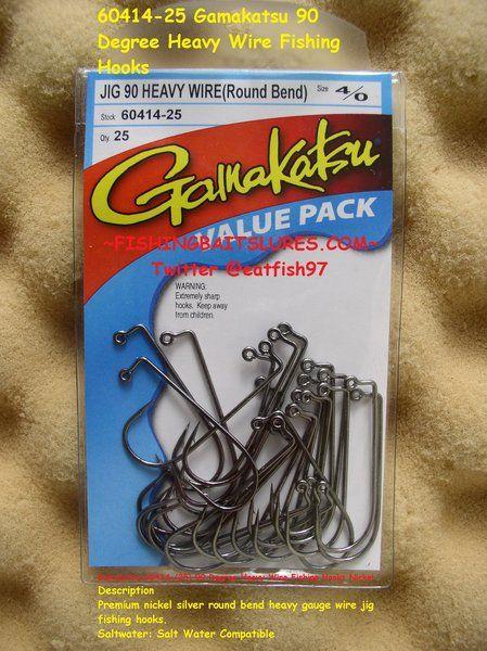 Black Gamakatsu 90 Degree Round Bend Heavy Wire Jig Hook-Pack Of 25