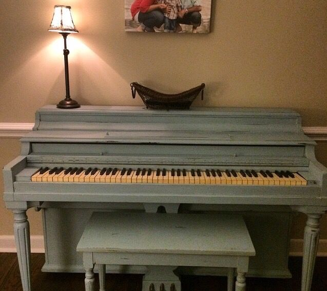 Piano Painted With Valspar Chalky Paint In Trousseau Blue
