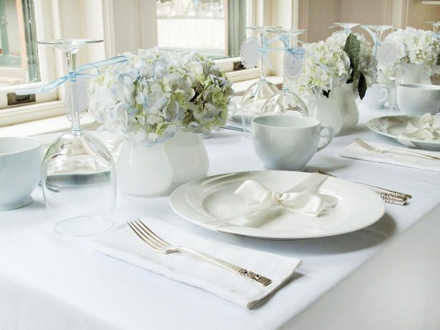 #DIYWeddings  Host a simply beautiful shower for the bride inspired by white and a touch of blue>> http://www.hgtv.com/entertaining/white-and-blue-bridal-shower-brunch/pictures/index.html?soc=pinterestWhite Tables, Tables Sets, Brunches, Ribbons, Bridal Shower Ideas, Classic Colors, Dining Tables, Bridal Showers, Blue Bridal Shower