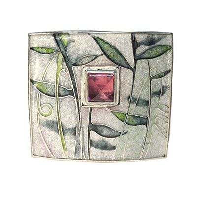 Carolyn Delzoppo | Brooch 2013 38mm x 32mm Sterling and fine silver, cloisonne enamel, square tourmaline