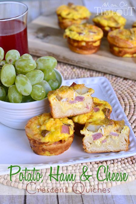 Potato, Ham and Cheese Crescent Mini Quiches are easy to make and fun to eat! | MomOnTimeout.com