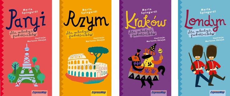 4 city guide books for children - Paris, Cracow, Rome and London for young travelers.
