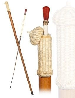 19th Century Carnelian handled whip concealed in a walking cane