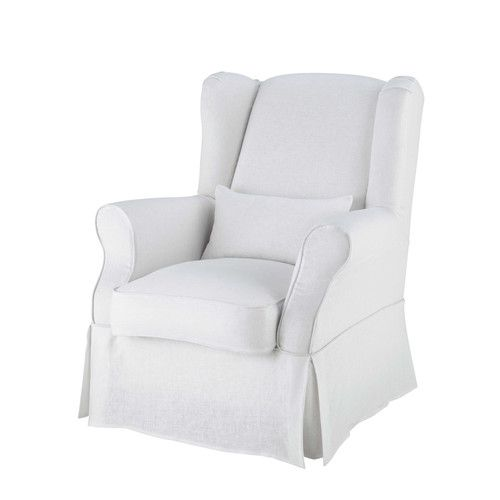 Linen armchair cover in white