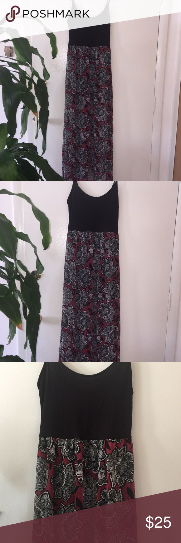 """Forever 21, Floral Maxi Dress Worn once. Off the rack, perfect condition. Size Large but the top black fabric is stretchy so could fit a larger woman. Floral gown has a black slip underneath that goes to my knees (I'm 5'3""""). Bust: 16"""", Length: 59.5"""" Goes great for summer festivals or for special occasions. It's really pretty! and versatile. Pair with a jean jacket for a bohemian, fall look. ~~make me an offer, let's work something out ~~bundle for added discount :)) Forever 21 Dresses Maxi"""