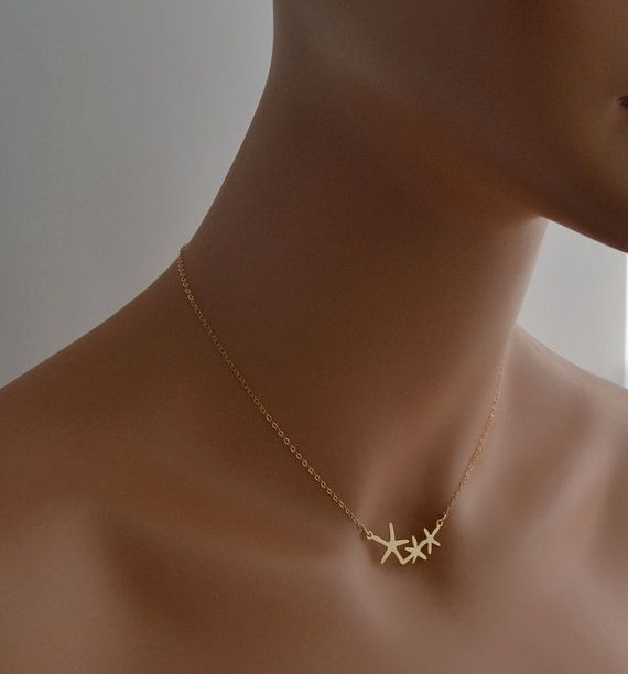 Gold Necklace Starfish Necklace Delicate by Nutmegjewelrydesigns