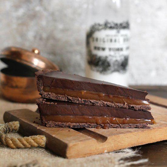Caramel and chocolate tart.