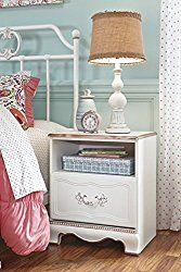Ashley Furniture Signature Design – Korabella Night Stand – 1 Drawer – Traditional – White