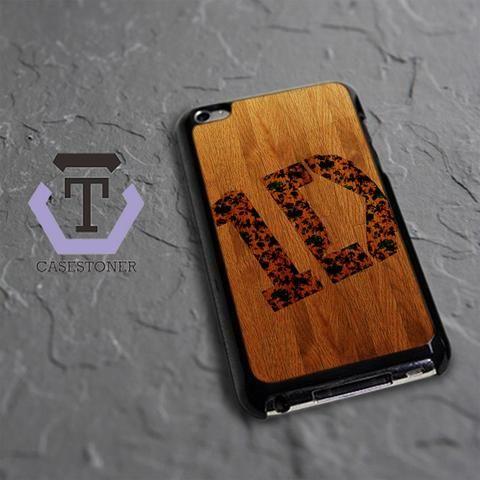 Wood One Direction Logo iPod 4 Black Case