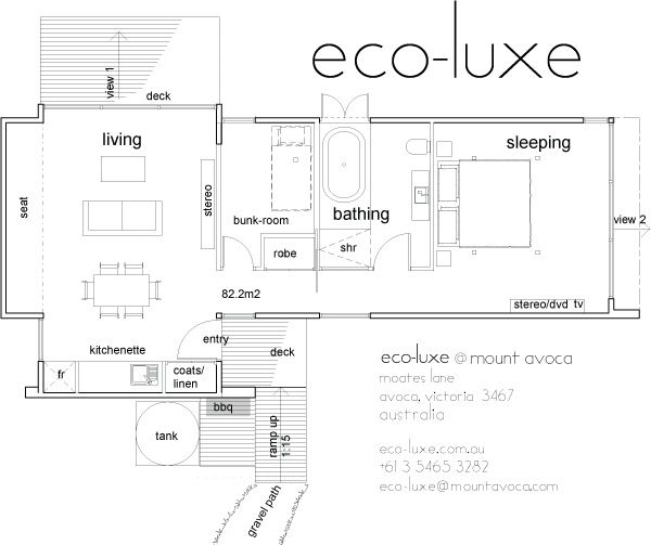 eco-luxe-plan - love this plan with a couple of alterations.  Mount Avoca Winery Accommodation floor plan