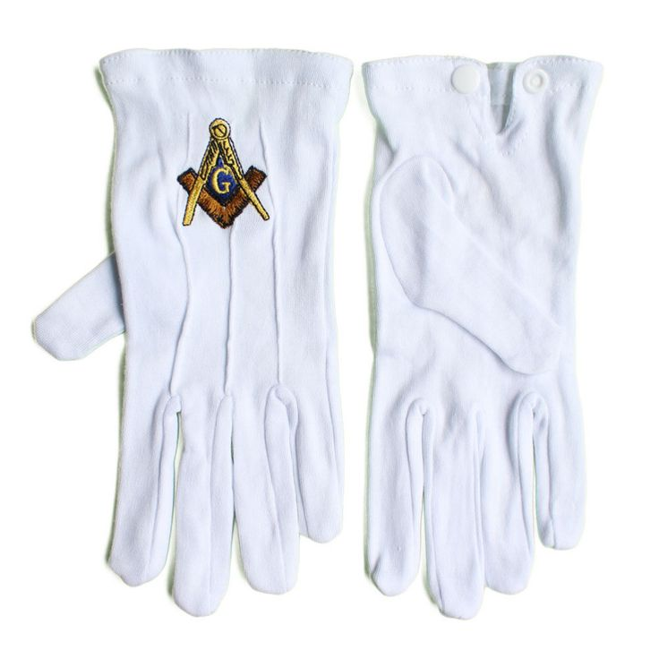 Masonic Freemasonry White Gloves embroidered with Square and Compass Logo