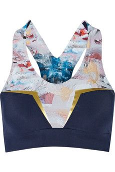 Lucas Hugh Neva Crop printed stretch sports bra | NET-A-PORTER