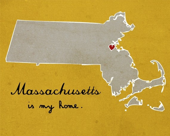 born & raised...but CA is my home now! I Heart Massachusetts - 8 x 10 - Illustration Print by Nan Lawson