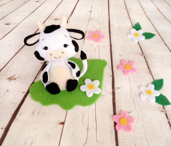 Cow Toy Felt Ornament Farm Animals Little Cow Soft Toy by BelkaUA