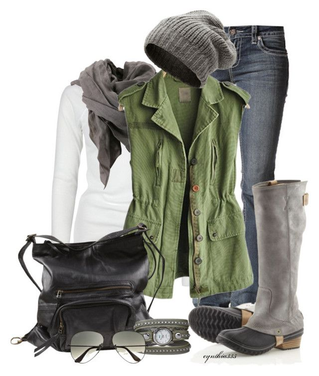 """""""Autumn Weekend"""" by cynthia335 ❤ liked on Polyvore featuring Full Tilt, Bruuns Bazaar, Aiayu, VILA, SOREL, La Mer and Ray-Ban"""