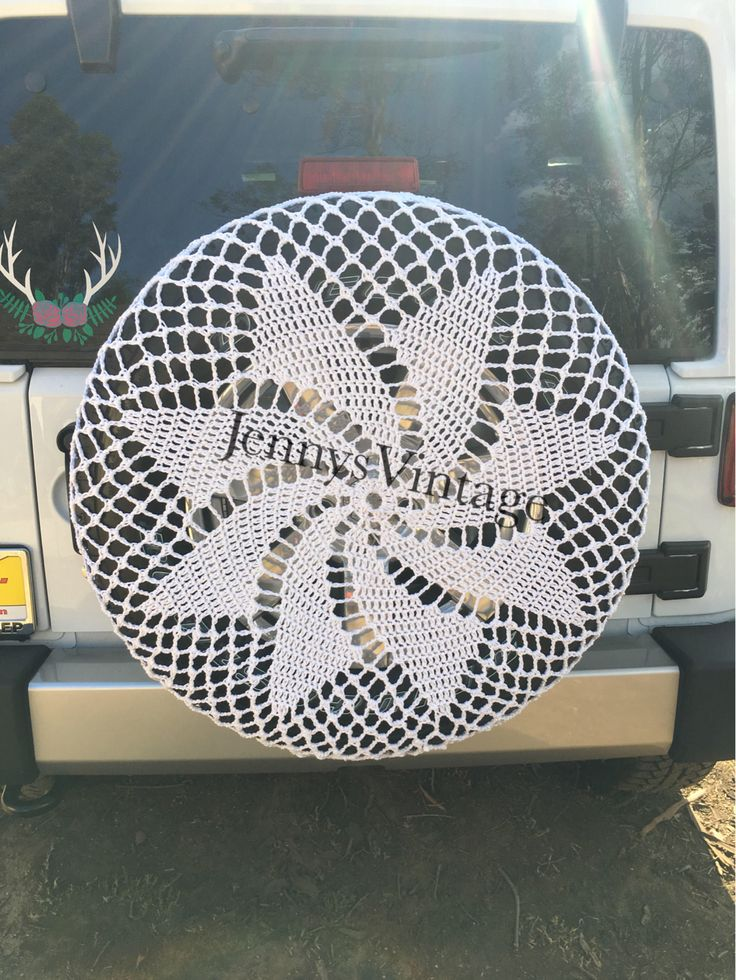 Spare Tire Cover, Crochet Spare Tire Cover, Jeep Tire Cover, Suv Spare Tire Cover, Rv Tire Cover, Jeep Accessories, Volkswagon Tire Cover by JennysVintage on Etsy https://www.etsy.com/listing/543447174/spare-tire-cover-crochet-spare-tire