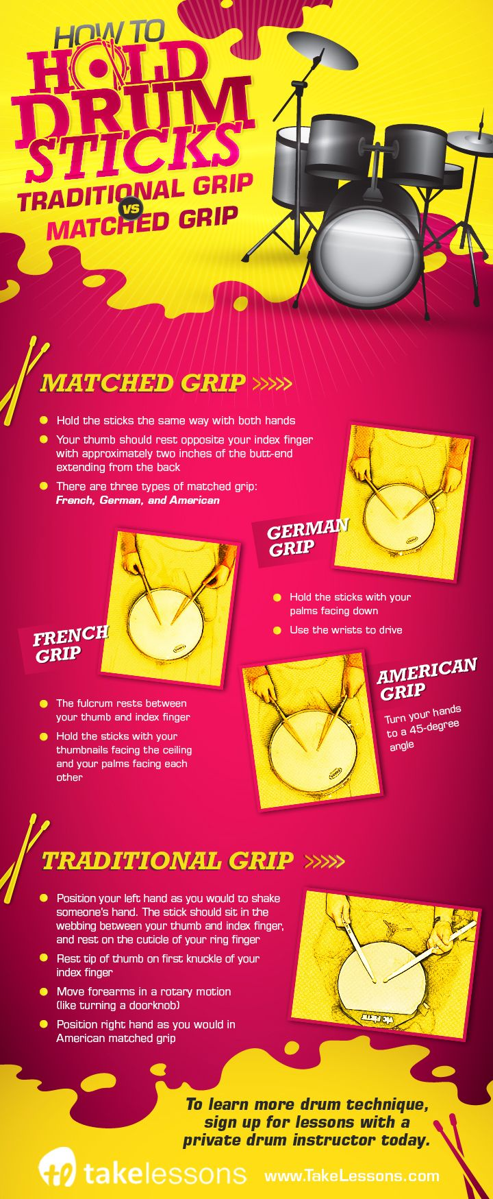 How to Hold Drum Sticks: Traditional Grip vs. Matched Grip [infographic] http://takelessons.com/blog/how-to-hold-drum-sticks-z07?utm_source=Social&utm_medium=Blog&utm_campaign=Pinterest