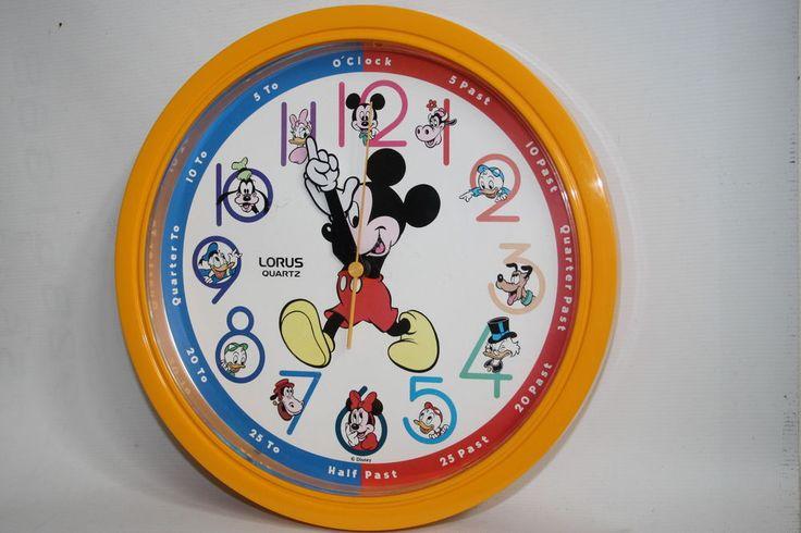 Vintage Lorus Quartz Mickey Mouse Donald Pluto Rare Disney Retro Clock Large