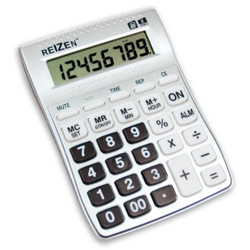 Reizen 8 Digit Talking Calculator with Alarm by Reizen. $9.95. Female voice in English. Announces keys pressed and calculations. Uses 2 AAA batteries not included. Talking function for calculator only not clock. Time display with alarm. Enjoy the convenience of hearing calculations spoken! The Reizen 8-Digit Talking Calculator is great for the blind and the visually impaired. While in calculator mode, all digits and functions entered, as well as calculation results...