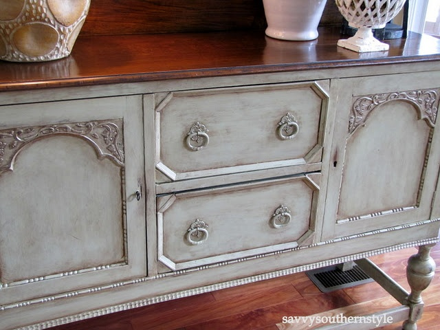 The products I used are: Benjamin Moore semi gloss paint in Georgian Green  brushed and rolled on. Valspar glaze in Mocha from Lowes.  Decor Art Elegant Finish Metallic Glaze in Renaissance Brown found at Hobby Lobby.