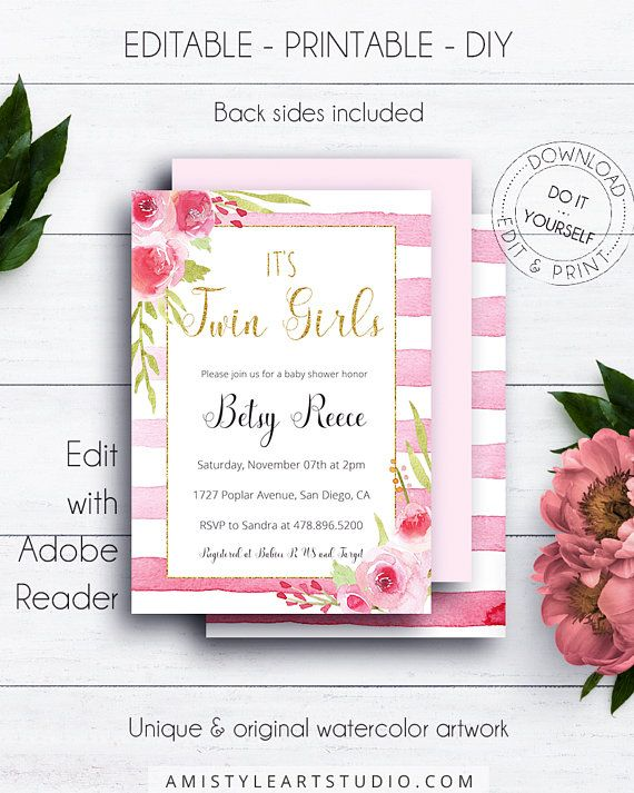 Gold Glitter It's Twin Girls Shower Invitation, with beautiful and trendy watercolor floral graphics on pink striped backround in vintage style.This adorable twin girls baby shower invite template listing is for an instant download EDITABLE PDF so you can download it right away, DIY edit and print it at home or at your local copy shop by Amistyle Art Studio on Etsy