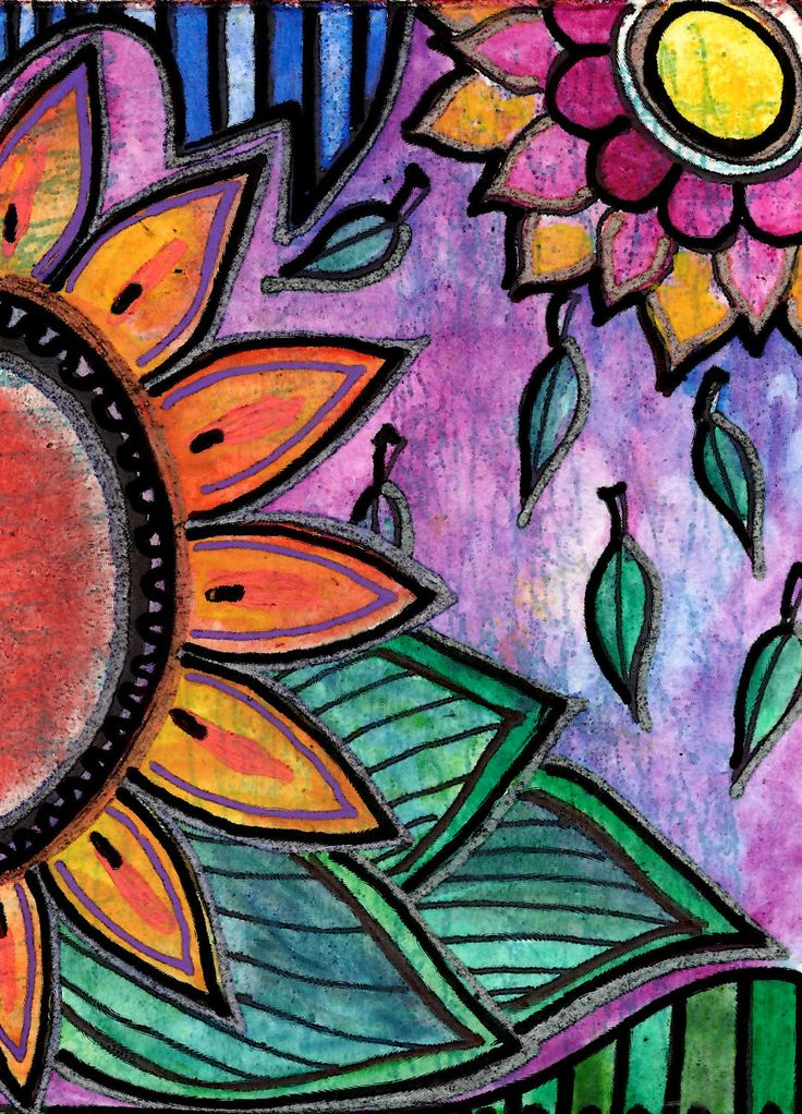 Downpour original aceo mixed media flower power art for Cool easy things to paint