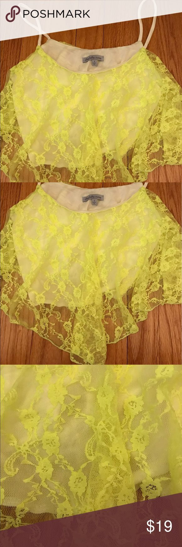 NWOT Charlotte Russe neon yellow lace croptop NWOT Charlotte Russe neon yellow lace croptop Charlotte Russe Tops Crop Tops