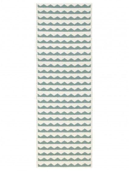 Plastique Tapis de couloir tissé plat Gittan Vert 70x300 cm