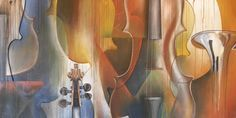 A Level Art Coursework: AS Painting Project - abstract instruments